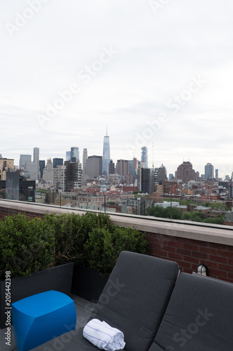 View of Freedom Tower and lower Manhattan from the posh rooftop bar