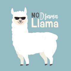 Cute cartoon llama vector design with No drama llama motivational quote