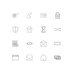 Interface linear thin icons set. Outlined simple vector icons