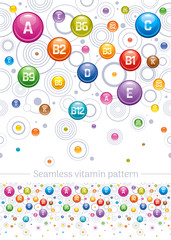 Seamless A B C D E K vitamin mineral pattern. Pharmacy medical poster idea, health concept. Vector illustration clip art design. Flat rainbow color icon set isolated white background. Repeat wallpaper