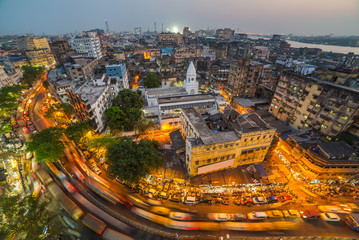 Deurstickers India Kolkata city top view at night, West Bengal, India. Long exposure photo