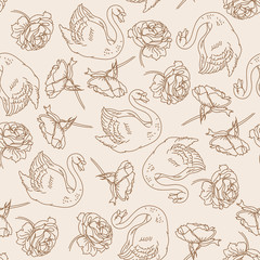 Hand drawn swans and peonies.