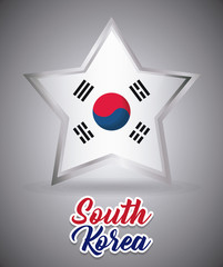 star with south korea flag over gray background, colorful design. vector illustration