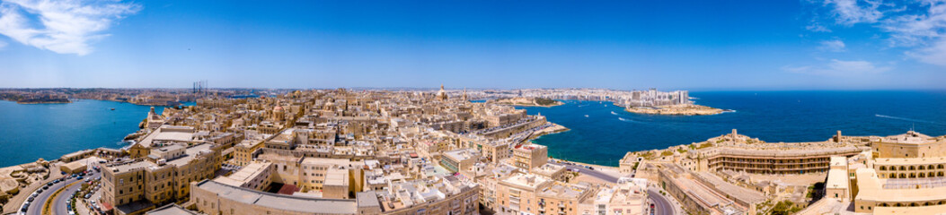 Aerial panorama sunrise photo - Ancient capital city of Valletta Malta. Island Country of Europe in the Mediterranean Sea