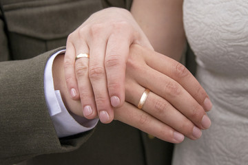 Hands of just married with golden rings on fingers