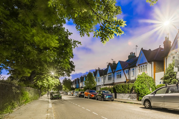 Chiswick suburb in summer evening, London