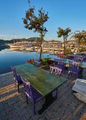 restaurant with a great view on mediterranean seascape, Kekova, Turkey