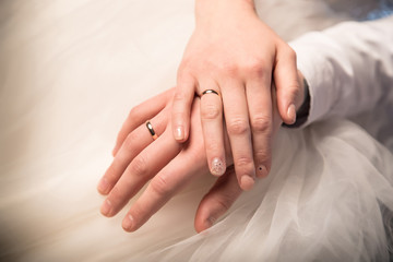 Hands of just married bride and groom with rings. Wedding photograph