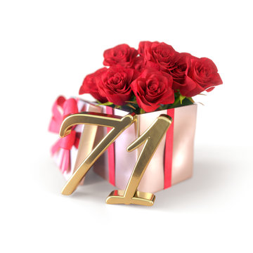 birthday concept with red roses in gift isolated on white background. seventy-first. 71st. 3D render