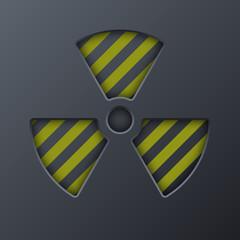 Radiation symbol on a dark background