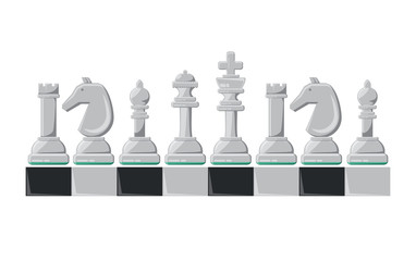 chess pieces design over white background, colorful design. vector illustration