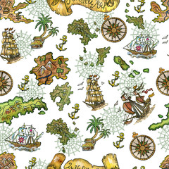 Seamless background with treasure islands, old sailing ships and compass on white. Pirate adventures, treasure hunt and old transportation concept. Hand drawn colorful illustration, vintage background
