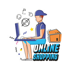 character man with shopping online icons vector illustration design