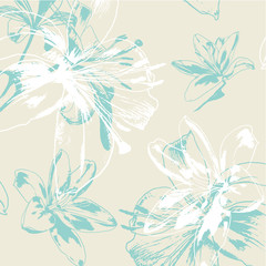 Vector Seamless Pattern for Lilies