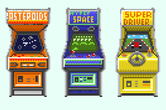 A set of pixel old gaming machines