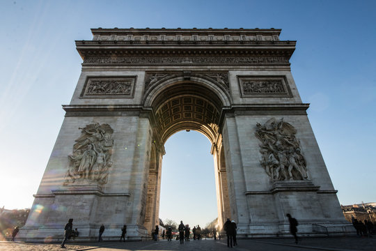 Tourists Gathered at the Arc De Triomphe Monument in Paris, France