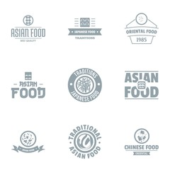 Asian fastfood logo set. Simple set of 9 asian fastfood vector logo for web isolated on white background
