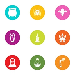 Coffin icons set. Flat set of 9 coffin vector icons for web isolated on white background