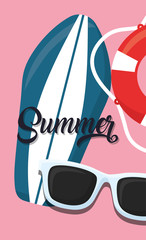 summer vacations design with surfboard and sunglasses over pink background, colorful design. vector illustration