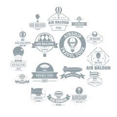 Air balloon logo icons set. Simple illustration of 16 air balloon logo vector icons for web