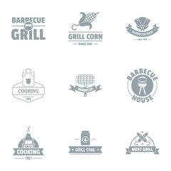 Grill logo set. Simple set of 9 grill vector logo for web isolated on white background