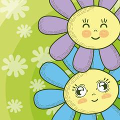 Cute flowers cartoons