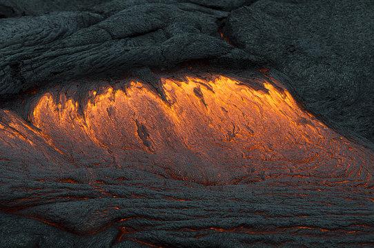 Lava Flow Off Molten Lava Rocks