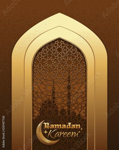 Greeting card for ramadan islamic design with crescent moon mosque greeting card for ramadan islamic design with crescent moon mosque and traditional islamic m4hsunfo