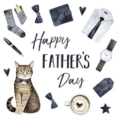Happy Father's Day greeting card design with bright man suit elements, coffee cup, beautiful wish inscription and stylish striped cat character. Hand drawn watercolour graphic paint, white background.