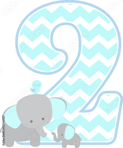 Number 2 With Cute Elephant And Little Baby Isolated On White Can Be Used