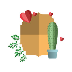 elegant frame with hearts and cactus vector illustration design