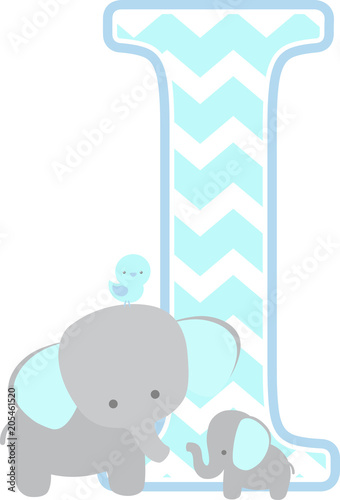 Initial I With Cute Elephant And Little Baby Isolated On White Can Be Used