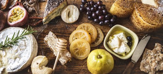 Platter of cheese and fruit pairings food photography recipe idea