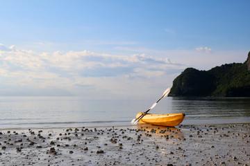 Kayaking on the white sand beach at limestone island