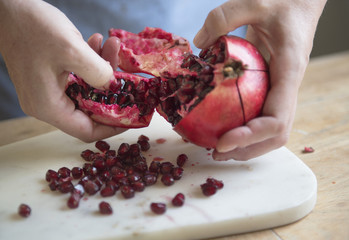 Fresh pomegranate food photography recipe idea