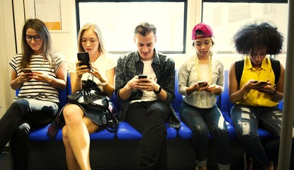 Young people attached to their smartphones