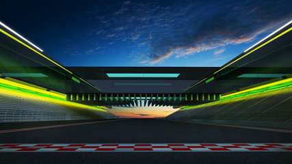 View of the infinity empty asphalt international race track with start and finish line, evening scene .  3d rendering .