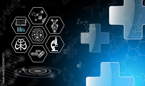 Copy Spaceabstract Background Design Science And Technology Concept In Blue Lighthealthcare Icon