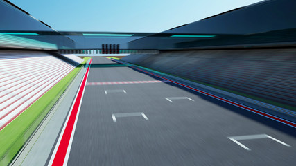 Wall Mural - Side view motion blur empty asphalt international race track with start and finish line .