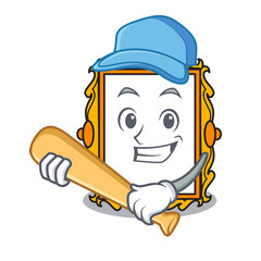 Playing baseball picture frame character cartoon