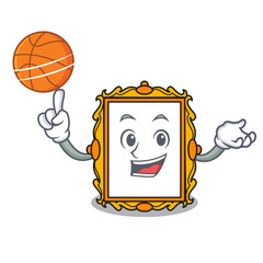 With basketball picture frame character cartoon
