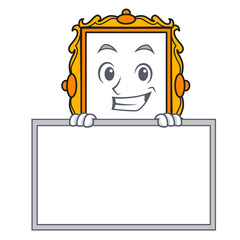 Grinning with board picture frame character cartoon
