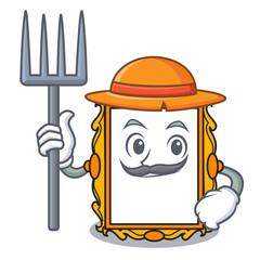 Farmer picture frame character cartoon
