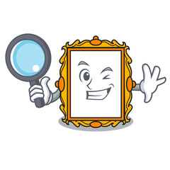 Detective picture frame character cartoon