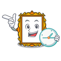With clock picture frame character cartoon