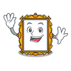 Waving picture frame character cartoon