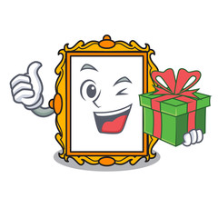 With gift picture frame mascot cartoon