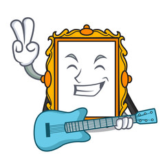 With guitar picture frame mascot cartoon