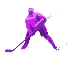 Sport concept. Ice hockey player. Purple
