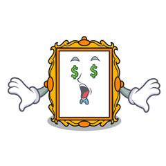 Money eye picture frame mascot cartoon